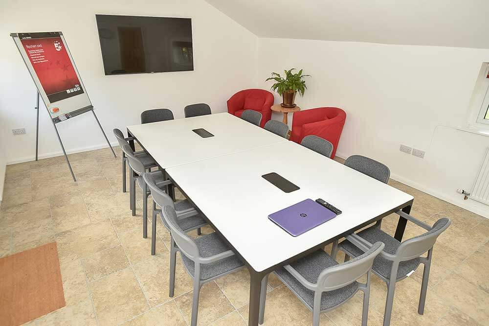 The interior laid out for a training course, a unique meeting space in wiltshire